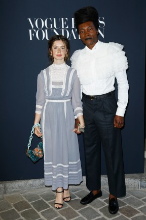 PARIS, FRANCE - JULY 04: (L-R) Flo Morrissey and Benjamin Clementine attend the Vogue Foundation Dinner during Paris Fashion Week as part of Haute Couture Fall/Winter 2017-2018 at Musee Galliera on July 4, 2017 in Paris, France. (Photo by Julien Hekimian/Getty Images for Vogue) *** Local Caption *** Flo Morrissey;Benjamin Clementine