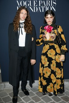 PARIS, FRANCE - JULY 04: (R) Soko and guest attend the Vogue Foundation Dinner during Paris Fashion Week as part of Haute Couture Fall/Winter 2017-2018 at Musee Galliera on July 4, 2017 in Paris, France. (Photo by Julien Hekimian/Getty Images for Vogue) *** Local Caption *** Soko