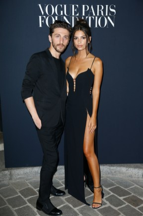 PARIS, FRANCE - JULY 04: (L-R) Emily Ratajkowski and David Koma attend the Vogue Foundation Dinner during Paris Fashion Week as part of Haute Couture Fall/Winter 2017-2018 at Musee Galliera on July 4, 2017 in Paris, France. (Photo by Julien Hekimian/Getty Images for Vogue) *** Local Caption *** Emily Ratajkowski;David Koma