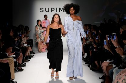 NEW YORK, NY - SEPTEMBER 07: Abigail Griswold, Rhode Island Shool of Design walks the runway at Supima Design Competition SS18 during New York Fashion Week at Pier 59 on September 7, 2017 in New York City. (Photo by JP Yim/Getty Images for Supima Design Competition)