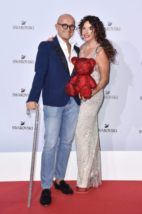 MILAN, ITALY - SEPTEMBER 20: Alfonso Signorini and Gabriella Magnoni Dompe attends Swarovski Crystal Wonderland Party on September 20, 2017 in Milan, Italy. (Photo by Jacopo Raule/Getty Images for Swarovski) *** Local Caption *** Alfonso Signorini; Gabriella Magnoni Dompé