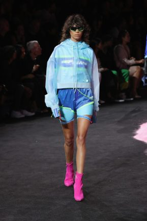 NEW YORK, NY - SEPTEMBER 10: Mica Arganaraz walks the runway wearing Look 53 at the FENTY PUMA by Rihanna Spring/Summer 2018 Collection at Park Avenue Armory on September 10, 2017 in New York City. (Photo by JP Yim/Getty Images for FENTY PUMA By Rihanna)