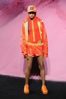 NEW YORK, NY - SEPTEMBER 10: Dilone walks the runway wearing Look 26 at the FENTY PUMA by Rihanna Spring/Summer 2018 Collection at Park Avenue Armory on September 10, 2017 in New York City. (Photo by JP Yim/Getty Images for FENTY PUMA By Rihanna)
