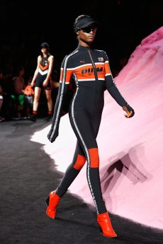 NEW YORK, NY - SEPTEMBER 10: A model walks the runway wearing Look 19 at the FENTY PUMA by Rihanna Spring/Summer 2018 Collection at Park Avenue Armory on September 10, 2017 in New York City. (Photo by Brian Ach/Getty Images for FENTY PUMA By Rihanna)