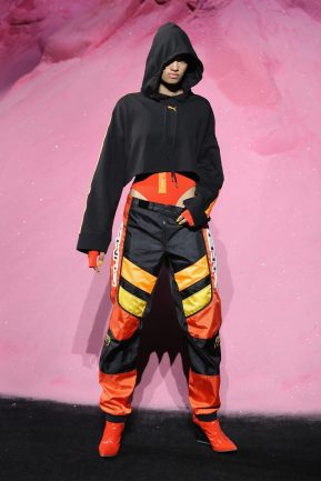 NEW YORK, NY - SEPTEMBER 10: Dilone the runway wearing Look 26 at the FENTY PUMA by Rihanna Spring/Summer 2018 Collection at Park Avenue Armory on September 10, 2017 in New York City. (Photo by JP Yim/Getty Images for FENTY PUMA By Rihanna)