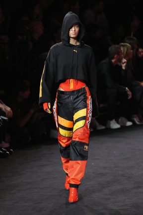 NEW YORK, NY - SEPTEMBER 10: Ellen Rosa walks the runway wearing Look 25 at the FENTY PUMA by Rihanna Spring/Summer 2018 Collection at Park Avenue Armory on September 10, 2017 in New York City. (Photo by JP Yim/Getty Images for FENTY PUMA By Rihanna)