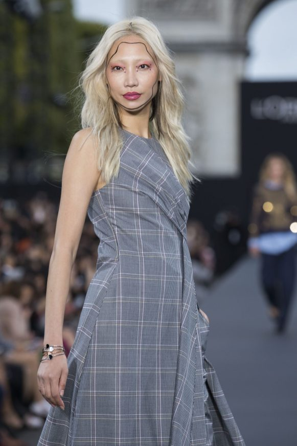 Soo Joo Park wearing Happy Hearts Collection