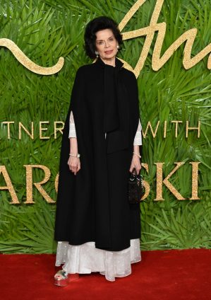 LONDON, ENGLAND - DECEMBER 04: Bianca Jagger attends The Fashion Awards 2017 in partnership with Swarovski at Royal Albert Hall on December 4, 2017 in London, England. (Photo by Jeff Spicer/BFC/Getty Images)