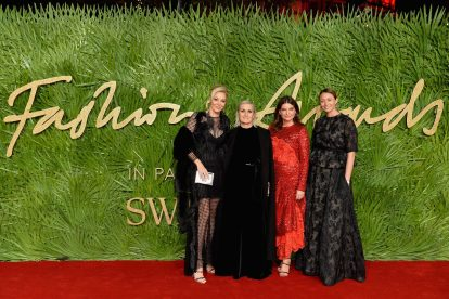 LONDON, ENGLAND - DECEMBER 04: (L-R) Nadja Swarovski, Maria Grazia Chiuri, Natalie Massenet and Caroline Rush attend The Fashion Awards 2017 in partnership with Swarovski at Royal Albert Hall on December 4, 2017 in London, England. (Photo by Jeff Spicer/BFC/Getty Images)
