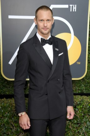 BEVERLY HILLS, CA - JANUARY 07: Actor Alexander Skarsgard attends The 75th Annual Golden Globe Awards at The Beverly Hilton Hotel on January 7, 2018 in Beverly Hills, California. (Photo by Venturelli/WireImage)