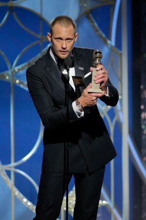 """BEVERLY HILLS, CA - JANUARY 07: In this handout photo provided by NBCUniversal, Alexander Skarsgard accepts the award for Best Performance by an Actor in a Supporting Role in a Series, Limited Series or Motion Picture Made for Television for """"Big Little Lies"""" during the 75th Annual Golden Globe Awards at The Beverly Hilton Hotel on January 7, 2018 in Beverly Hills, California. (Photo by Paul Drinkwater/NBCUniversal via Getty Images)"""