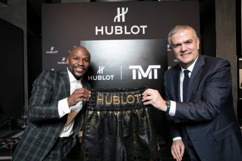 Floyd Mayweather and Ricardo Guadalupe at Hublot Boutique Crystals in Las Vegas