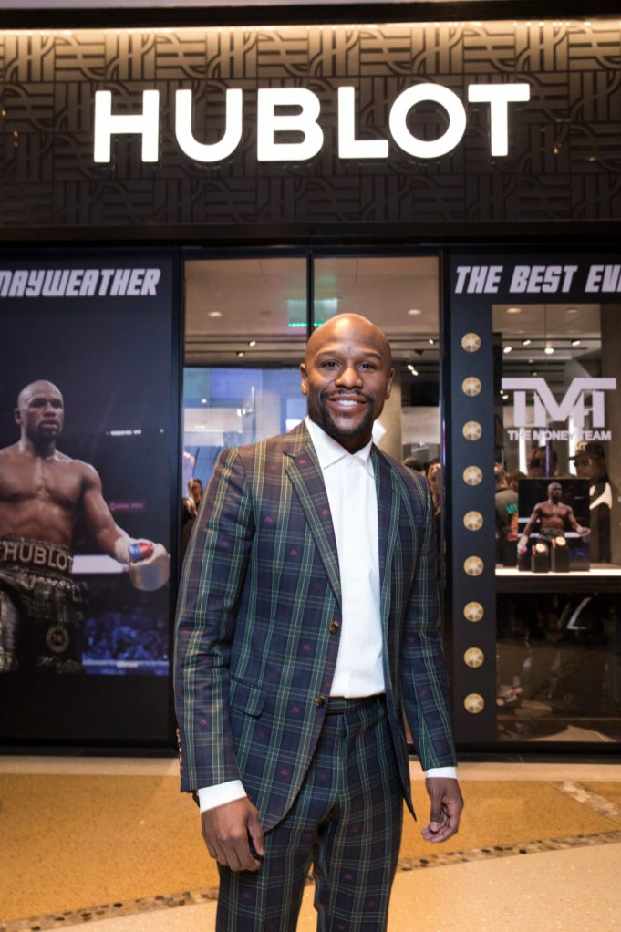 Floyd Mayweather at the Hublot Boutique Crystals Mall Las Vegas