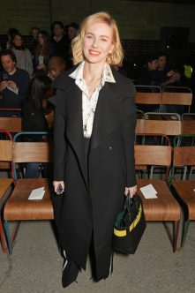LONDON, ENGLAND - FEBRUARY 17: Naomi Watts wearing Burberry at the Burberry February 2018 show during London Fashion Week at Dimco Buildings on February 17, 2018 in London, England. Pic Credit: Dave Benett