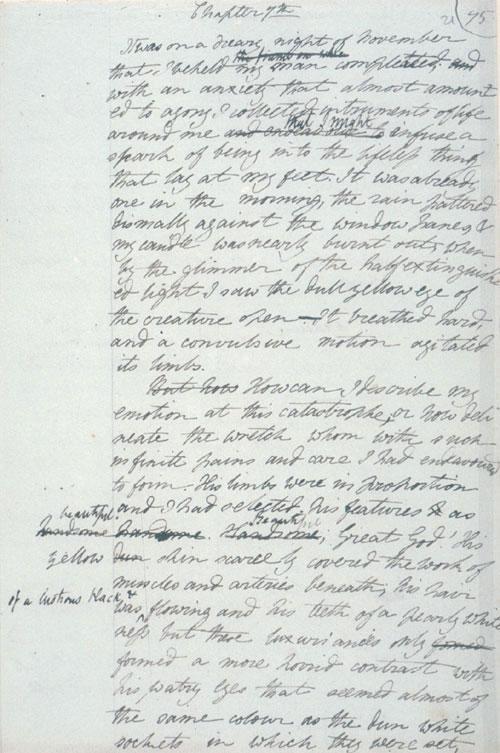 Note de Marie Shelley pour Frankenstein : l'élément manquant du décors DUMITRASCU ?