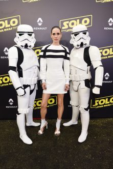 CANNES, FRANCE - MAY 15: Jennifer Connelly and Stormtroopers attend a 'Solo: A Star Wars Story' party at the Carlton Beach following the film's out of competition screening during the 71st International Cannes Film Festival at Carlton Beach on May 15, 2018 in Cannes, France. (Photo by Antony Jones/Getty Images for Disney) *** Local Caption *** Jennifer Connelly