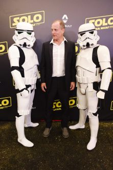 CANNES, FRANCE - MAY 15: Actor Woody Harrelson and Stormtroopers attend a 'Solo: A Star Wars Story' party at the Carlton Beach following the film's out of competition screening during the 71st International Cannes Film Festival at Carlton Beach on May 15, 2018 in Cannes, France. (Photo by Antony Jones/Getty Images for Disney) *** Local Caption *** Woody Harrelson