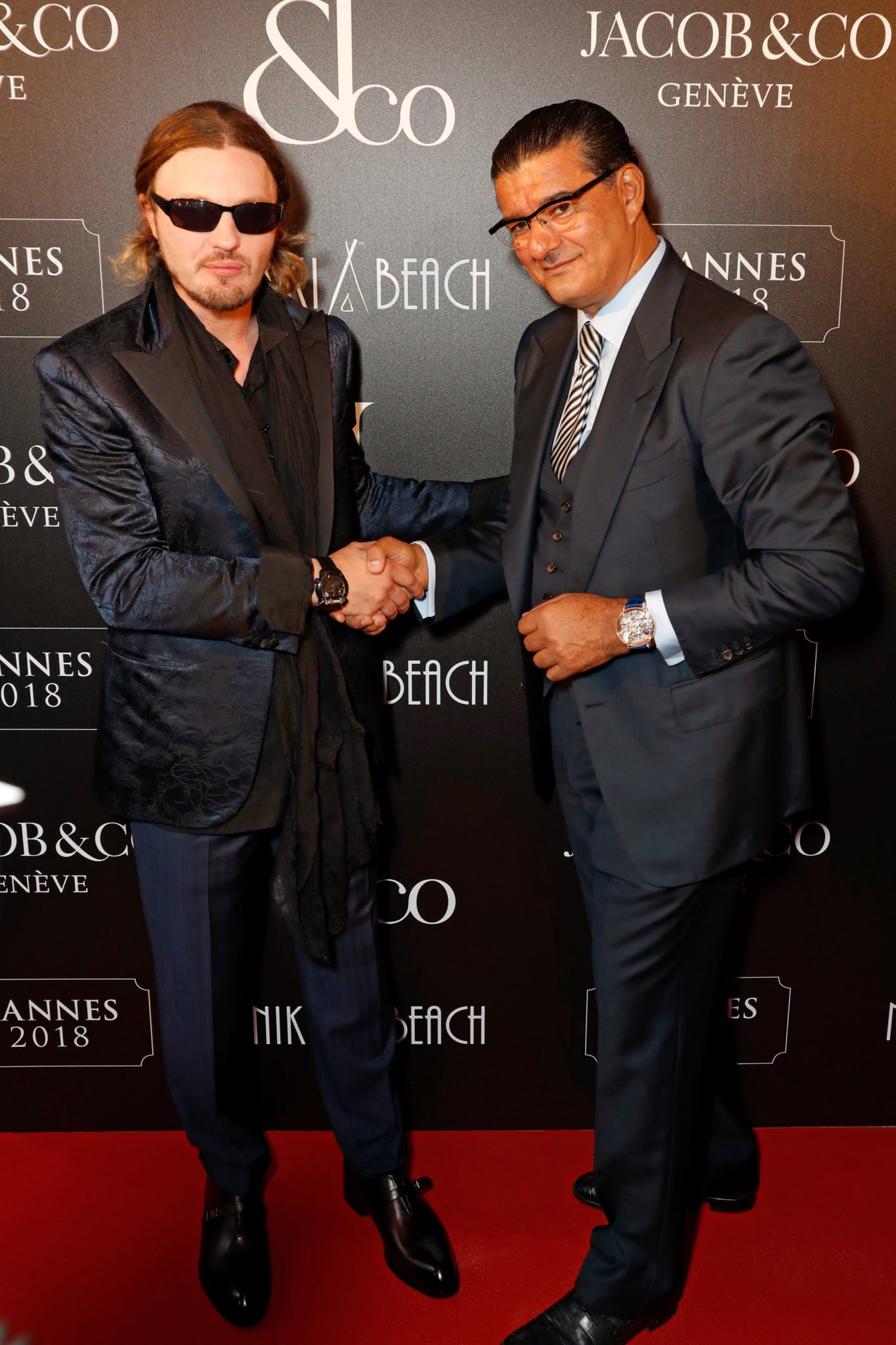CANNES, FRANCE - MAY 16: Michael Pitt (L) and Jacob Arabo attend the Jacob & Co Cannes 2018 party at Nikki Beach on May 16, 2018 in Cannes, France. Pic Credit: Dave Benett *** Local Caption *** Michael Pitt; Jacob Arabo