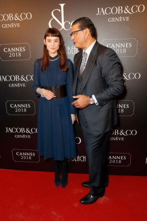 CANNES, FRANCE - MAY 16: Ëstrid Bergs-Frisbey (L) and Jacob Arabo attends the Jacob & Co Cannes 2018 party at Nikki Beach on May 16, 2018 in Cannes, France. Pic Credit: Dave Benett *** Local Caption *** Ëstrid Bergs-Frisbey; Jacob Arabo