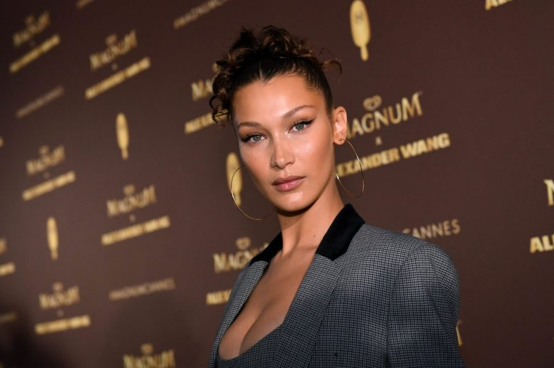 EDITORIAL USE ONLY Bella Hadid stuns in head to toe Alexander Wang at the Magnum x Alexander Wang ÔTake Pleasure SeriouslyÕ party in Cannes, France. PRESS ASSOCIATION Photo. Picture date: Thursday May 10, 2018. Photo credit should read: Jonathan Hordle/PA/Magnum