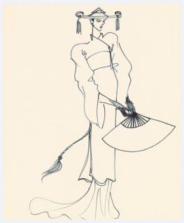 01 - Croquis de recherche autour du lancement du parfum Opium, vers 1978, Musée Yves Saint Laurent Paris © Fondation Pierre Bergé - Yves Saint Laurent _ Tous droits réservés