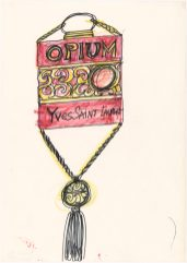 12 - Croquis de recherche autour du flacon du parfum Opium, vers 1977, Musée Yves Saint Laurent Paris © Fondation Pierre Bergé - Yves Saint Laurent _ Tous droits réservés