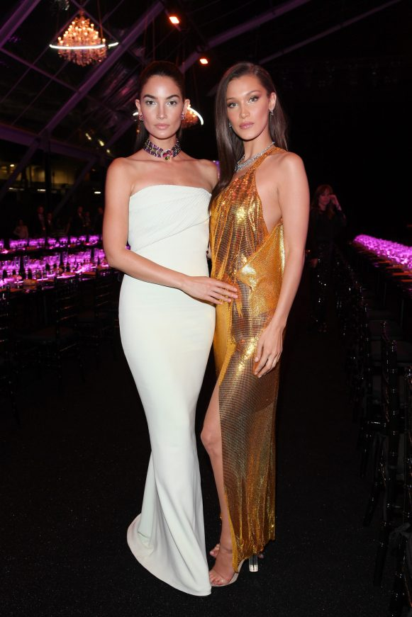 ROME, ITALY - JUNE 28: Lily Aldridge and Bella Hadid attend BVLGARI Dinner & Party at Stadio dei Marmi on June 28, 2018 in Rome, Italy. (Photo by Daniele Venturelli/Daniele Venturelli/Getty Images for Bvlgari )