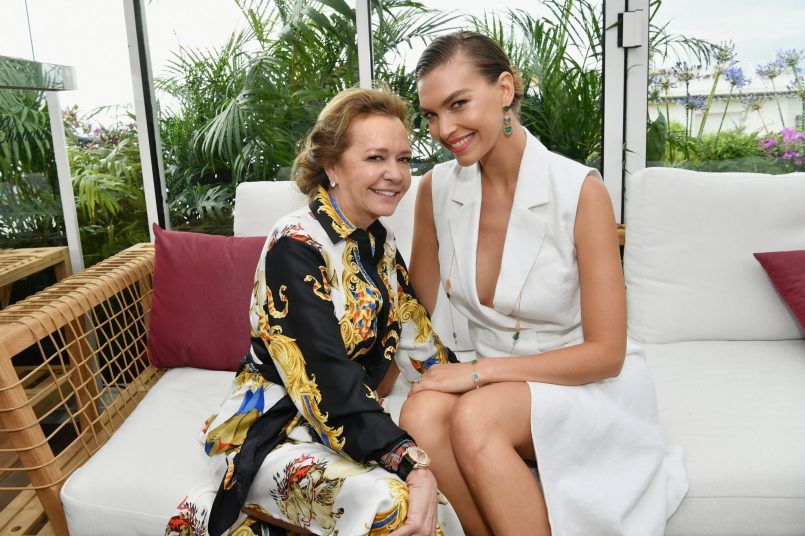 CANNES, FRANCE - MAY 13: Artistic Director and Co-President of Chopard, Caroline Scheufele (L) and Arizona Muse attend the ladies luncheon announcing the new partnership between Chopard and the Naked Heart Foundation at Hotel Martinez on May 13, 2018 in Cannes, France. (Photo by Emma McIntyre/Getty Images)