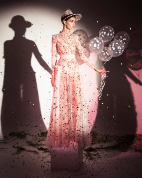 FW19-12 Pale Pink Sheer Ruffled Gown Embellished With Laser-Cut Glass Stones And Matched With An Embroidered Open Hat