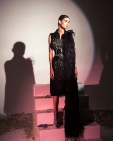 FW19-7 Black And Silver Embellished Tailleur Dress With A Side Ostrich Feathers Scarf And Embellished Sunglasses