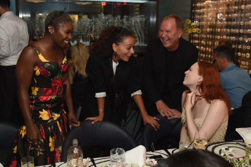 NEW YORK, NY - SEPTEMBER 12: Cynthia Erivo (L), Michael Kors (second from right) and Karen Elson (R) attend the Michael Kors x 10 Corso Como Dinner at 10 Corso Como on September 12, 2018 in New York City. (Photo by Larry Busacca/Getty Images for Michael Kors)