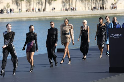 A model walks the runway during Le Defile L'Oreal Paris as part of Paris Fashion Week Womenswear Spring/Summer 2019 on September 30, 2018 in Paris, France.