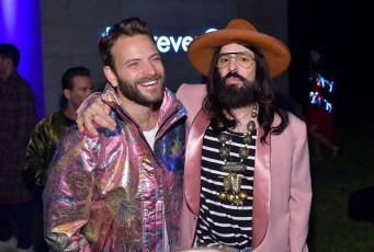 HOLLYWOOD, CA - NOVEMBER 02: Alessandro Borghi (L) and Gucci Creative Director Alessandro Michele attend Gucci Guilty Launch Party at Hollywood Forever on November 2, 2018 in Hollywood, California. (Photo by Stefanie Keenan/Getty Images for GUCCI)