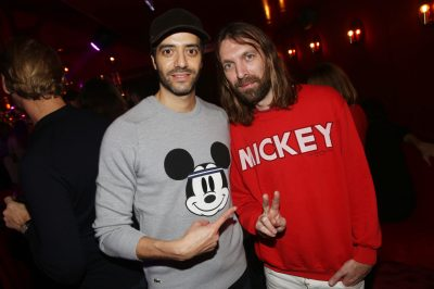 Tarek Boudali et Thibaut Berland (Breakbot) lors de la soiree d'inauguration du restaurant Roxie a Paris, France, le 27 Novembre 2018. Photo by Jerome Domine/ABACAPRESS.COM