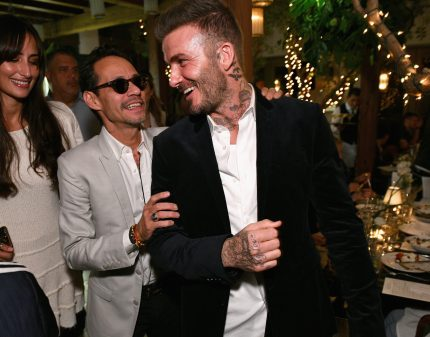 MIAMI, FL - DECEMBER 06: Marc Anthony (L) and David Beckham attend Adidas Originals, British Fashion Council and David Beckham host a dinner in celebration of their creative collaboration on December 6, 2018 in Miami, United States. (Photo by Getty Images/BFC/Getty Images for BFC) *** Local Caption *** Marc Anthony;David Beckham