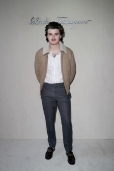 MILAN, ITALY - FEBRUARY 23: Joe Keery attend the Salvatore Ferragamo show during Milan Fashion Week Autumn/Winter 2019/20 on February 23, 2019 in Milan, Italy. (Photo by Vittorio Zunino Celotto/Getty Images for Salvatore Ferragamo)