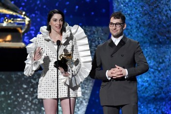 LOS ANGELES, CA - FEBRUARY 10: Jack Antonoff and St. Vincent accept award for Best Rock Song onstage at the premiere ceremony during the 61st Annual GRAMMY Awards at Microsoft Theater on February 10, 2019 in Los Angeles, California. (Photo by Jeff Kravitz/FilmMagic)