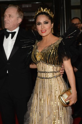 NEW YORK, NEW YORK - MAY 06: François-Henri Pinault and Salma Hayek depart The Mark Hotel for the 2019 'Camp: Notes on Fashion' Met Gala on May 06, 2019 in New York City. (Photo by Andrew Toth/Getty Images for The Mark Hotel)