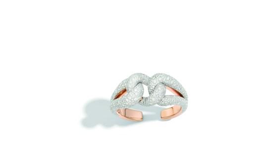 Tango cuff in rose gold and white diamonds by Pomellato