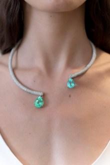 Diamond and Tourmaline Paraiba Phillipa Necklace - USA1795