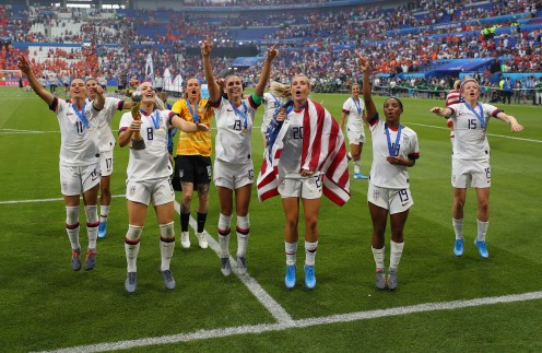 LYON, FRANCE - JULY 07: Players of the USA celebrate following their sides victory in the 2019 FIFA Women's World Cup France Final match between The United States of America and The Netherlands at Stade de Lyon on July 07, 2019 in Lyon, France. (Photo by Richard Heathcote/Getty Images)