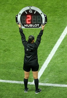 PARIS, FRANCE - JUNE 07: Fourth official Melissa Borjas signals added time at the end of the first half during the 2019 FIFA Women's World Cup France group A match between France and Korea Republic at Parc des Princes on June 07, 2019 in Paris, France. (Photo by Robert Cianflone/Getty Images)