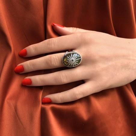 Unique by DJULA bague SOLEIL labrodorite or blanc diamants blancs copie