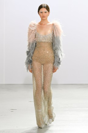 A Model wearing an outfit from the Haute Couture collections, winter 2019 2020, original creation, during the Haute Couture Fashion Week in Paris, from the house of Celia Krithariotis