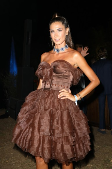 PORTO CERVO, ITALY - AUGUST 09: Melissa Satta attends the cocktail at the Unicef Summer Gala Presented by Luisaviaroma at on August 09, 2019 in Porto Cervo, Italy. (Photo by Tristan Fewings/Getty Images for Luisaviaroma)