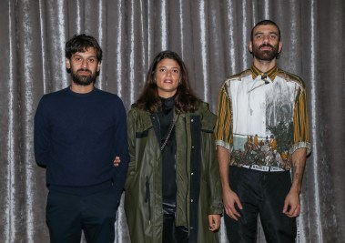 LONDON, ENGLAND - OCTOBER 01: (L-R) Renato Leotta, Giulia Cecnci and Tomaso De Luca attend The Maxxi Bulgari Prize on October 01, 2019 in London, England. (Photo by Tristan Fewings/Getty Images for Maxxi)