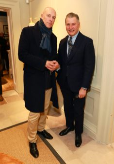 LONDON, ENGLAND - NOVEMBER 20: (L-R) Dylan Jones, Editor-in-Chief of GQ and Chairman & Founder Jeremy Hackett attend the opening celebrations for the J.P Hackett store at No.14 Savile Row on November 20, 2019 in London, England. (Photo by David M. Benett/Dave Benett/Getty Images for Hackett)