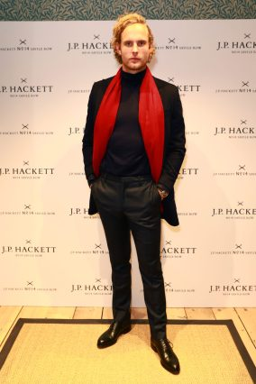 LONDON, ENGLAND - NOVEMBER 20: Jack Fox attends the opening celebrations for the J.P Hackett store at No.14 Savile Row on November 20, 2019 in London, England. (Photo by David M. Benett/Dave Benett/Getty Images for Hackett)