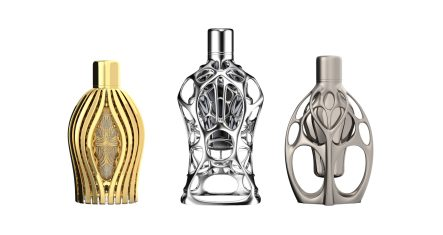 F1_fragrance_collection_limited__edition_luxury_art-pieces_3D_printed_design_by_Ross_Lovegrove_from_left_to_right_AGILE EMBRACE_ COMPACT SUSPENSION_FLUID SYMMETRY