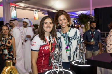 F2 racer Tatiana Calderón at the Launch of the F1 fragrance at the Formula 1 Etihad Airways Grand Prix, Yas Marina Circuit on November 30, 2019 in Abu Dhabi